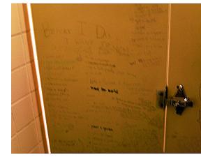 Bathroom stall writing
