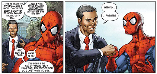 Obama and Spiderman fist bump